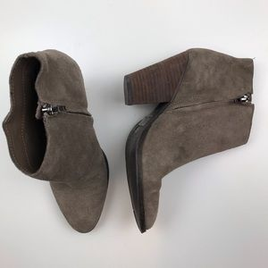 Dolce Vita taupe suede zipper heeled booties